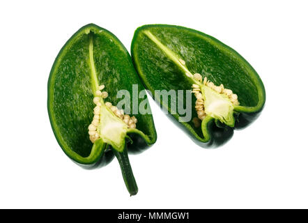 The Poblano pepper is a type of Capsicum annuum. It is a mild chili originated from the State of Puebla in Mexico. Dried is called ancho or chili anch - Stock Photo