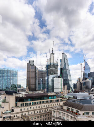 City of London financial district changing skyline: Stock Exchange Tower, Tower 42, 22 and 100 Bishopsgate, Cheesegrater, Lloyds Building and Scalpel - Stock Photo