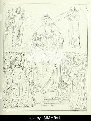 . English: Drawing by Carlo D'Arco (1799–1872)[1] of a painting by Francesco Monsignori [i.e. Bonsignori] depicting the beata Osanna Andreasi accompanied by nuns. D'Arco is identified as the creator of the drawing at bottom left: 'D'Arco dis[.]', Engraving credit (bottom right) may be deciphered, by reference to other plates in the volume, as 'Prem. Lit Penuti Verona'. In the list of plates (p. 118), the image is identified as La beata Osanna Andreasi con alcune monache, dipinta da Francesco Monsignori. D'Arco discusses the painting on pp. 58–59. Andreasi is depicted standing on a devil, holdi - Stock Photo