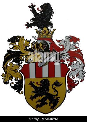 . Deutsch: Wappen des Ingenieurs Dr. h.c. Ferdinand Neureiter senior, Direktor der österreichischen Siemens-Schuckertwerke, dem Kaiser Karl I. von Österreich 'aus Anlass der Vollendung des Neubaues der Exportakademie in Wien und dessen außergewöhnlichen Verdiensten in diesem Zusammenhang' mit Allerhöchster Entschließung zu Wien am 9. April 1918 den erblichen österreichischen Adelsstand als Edler von Neureiter verliehen hatte. Das entsprechende Adelsdiplom wurde am 9. Juli 1918 in Wien ausgestellt. Zeichnung aus den Akten im Österreichischen Staatsarchiv Wien, Allgemeines Verwaltungsarchiv, Ade - Stock Photo