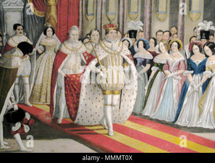.  English: Engraving of the anointing of Christian VIII and Caroline Amalia in 1840.  . 1840. 48 Anointing of Christian VIII 1840 - Stock Photo