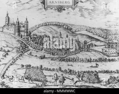 . English: View of Arnsberg with the castle, and Westinghausen monastery, in Westphalia, circa 1588, by an unknown engraver. Foreground, two men, presumably the lord of the castle and a visitor, middle ground, the Rurh river, with a 'new' bridge across it (the old one is in ruins slightly to the left). Castle is on the left, town in the middle, and monastery on the far right. 57 Arnsberg Castle c1588 - Stock Photo