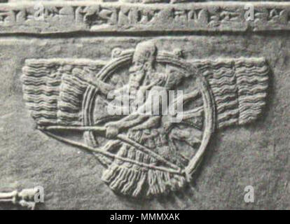 . English: Assyrian 'feather-robed archer' figure, superimposed over a winged sun symbol. [1][2] Myths of Babylonia and Assyria by Donald A. Mackenzie (1915): Ashur was not a 'goat of heaven', but a 'bull of heaven', like the Sumerian Nannar (Sin), the moon god of Ur, Ninip of Saturn, and Bel Enlil. As the bull, however, he was, like Anshar, the ruling animal of the heavens; and like Anshar he had associated with him 'six divinities of council'. Other deities who were similarly exalted as 'high heads' at various centres and at various periods, included Anu, Bel Enlil, and Ea, Merodach, Nergal, - Stock Photo