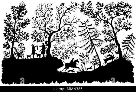 """. English: Papercutting by Bettina von Arnim, titled """"Jagdszene"""" (German for """"hunting scene"""") Deutsch: Scherenschnitt mit dem Titel """"Jagdszene"""" von Bettina von Arnim 83 Bettina von Arnim - Scherenschnitt CLEANED TRANSPARENT - Stock Photo"""