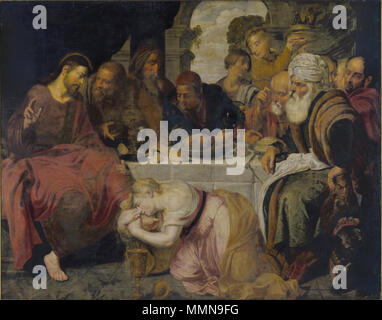 English: Christ in the house of Simon the Pharisee . first half of 17th century. Artus Wolffort - Christ in the house of Simon the Pharisee - Stock Photo