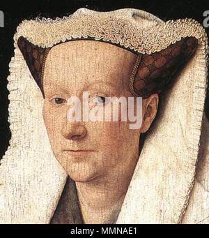 Portrait of Margareta van Eyck. 1439. Jan van Eyck - Portrait of Margareta van Eyck - WGA7618 (cropped) - Stock Photo