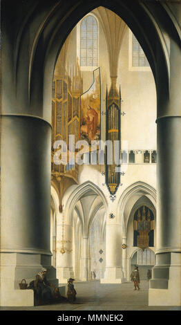 . Interior of the Grote Kerk or St Bavokerk in Haarlem, seen from the southern ambulatory through the choir onto the northern ambulatory with the large organ. A woman with two children sit at the left column. On the shutter of the organ is painted the Resurrection of Christ. On a wall in the northern ambulatory there is a second, smaller organ.  Interior of the Church of St Bavo in Haarlem. 1636. Pieter Jansz Saenredam - Interieur van de Grote of Sint Bavokerk te Haarlem - Stock Photo