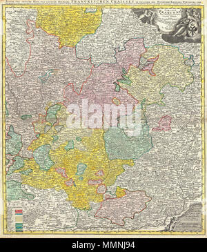 1720 Homann Map of Franconia, Germany ( Bavaria, Bamberg, Würtzburg, Nuremberg ) - Geographicus - Franconiae-homann-1720 - Stock Photo