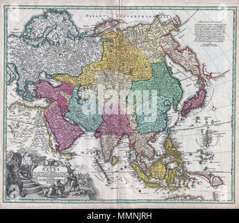 """.  English: A rare and attractive 18th century map of Asia by German map publisher Johann Christoph Homann. Covers the entire continent of Asia as well as parts of Europe and northeastern Africa. This is essentially a revised and updated version of J. B. Homann's 1712 map of Asia. Features some interesting and important updates. Most notably, we see the addition of the Kamchatka Peninsula in the upper right hand quadrant. The lower part of the peninsula is labeled """"Kurilorum Regio"""", no doubt an early reference to the Kuril Islands. While Hokkaido is not present, Japan itself is separated from  - Stock Photo"""