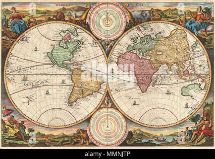 .  English: A fine 1730 world map was drawn by Stoopendaal for publication in the Keur Bible. Based on Visscher's very similar map of 1663, this map depicts the world on a hemisphere projection surrounded by stunning allegorical cartouche work. The cartouche work corresponds to that seen on the second world Bible map produced by Nicolaas Visscher, Orbis Terrarum Tabula Recens Emendata ... (Shirley 431, 1663), though the map has changed to accommodate evolving geographical suppositions. Stoopendaal revisions of Visscher's work include geographical updates as well as the incorporation of Coperni - Stock Photo