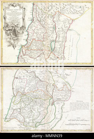 .  English: A beautiful example of Guillaume and Joseph De L'Isle's 1762 decorative map of the Holy Land, including Israel and Palestine. In two sheets, covers the region from Gaza and the Dead Sea north to Sidon (modern Lebanon) and Damascus. This map includes the modern day countries of Israel, Palestine, Jordan, Syria and Lebanon. It names countless biblical locations including the lands claimed by the Tribes of Israel. We can also find the locations of several of the Old Testament's more mysterious cities including Sodom and Gomorra. An elaborate title cartouche in the upper left hadn quad - Stock Photo