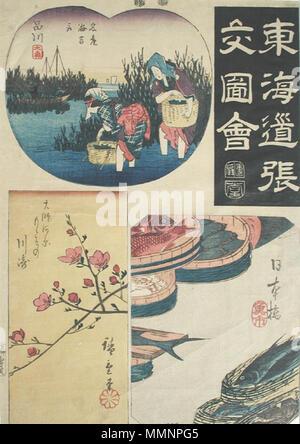. ??ѵ??ެ?: ?ئ???????+???????????+??+?????+?????+???ǵ?ѵ????????????????????զ? English: Accession Number: 1957.349 Display Artist: Utagawa Hiroshige Display Title: 'Nihonbashi, Shinagawa, Kawasaki' Translation(s): Nihonbashi uoichi; Shinagawa meisan nori tori; Kawasaki: Daishigawara momo sono Series Title: Scrapbook Pictures of the Tokaido Road Suite Name: Tokaido harimaze zue Creation Date: ca. 1852-1854 Medium: Woodblock Height: 13 15/16 in. Width: 11 in. Display Dimensions: 13 15/16 in. x 11 in. (35.4 cm x 27.94 cm) Publisher: Ibaya Senzabur+? (Dansend+?) Credit Line: Bequest of Mrs. Cora Tim - Stock Photo