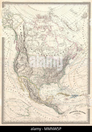 .  English: A finely detailed large format 1857 map of the North America on Mercator's projection by the French cartographer A. H. Dufour. This map covers the entire continent from the Polar Ice Cap to the northern part of South America inclusive of the West Indies, Central America, Mexico, the United States, Canada and Alaska. In addition to standard political and physical data this map offers a vast wealth of cartographic information including nautical routes, currents, winds, notes on explorers, some offshore details, comments on the polar ice caps, notes on vegetation, and much more. An in - Stock Photo