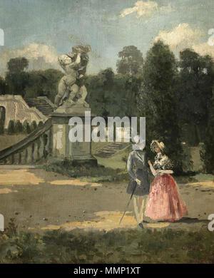 . Deutsch: Junges Paar im Schlosspark. Öl auf Leinwand, bezeichnet: A. Raudnitz Nachlass. 39 x 32.5 cm  . by 1899. Albert Raudnitz (1814–1899) 32 Albert Raudnitz Junges Paar im Schlosspark - Stock Photo