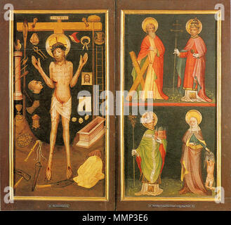 . Man of Sorrow with Arma Christi and Saints Andrew, Urban, Heribert of Deutz and Elisabeth of Hungary - closed Altar of Holy Kinship  . circa 1420. Master of Holy Kinship the Elder 40 Altar of the Holy Kinship (closed) - Stock Photo