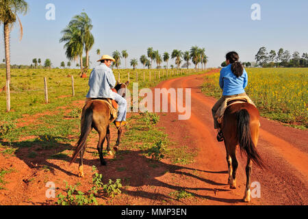 Tourist enjoys a horseback tour with a guide in a farm in the Pantanal wetland, Mato Grosso do Sul, Brazil - Stock Photo