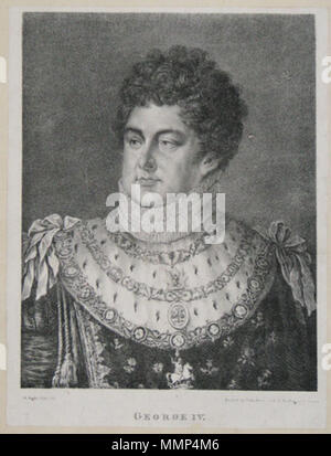 . A Aglio Esq. del. Printed by John Lions, No.1. Wellington Square. [n.d. c.1823.] Rare lithograph. 228 x 177mm. 9 x 7'. Cut and laid on album sheet. King George IV (1762-1830) in the robes of the Order of the Garter.  . 1823. Agostino Aglio (1777-1857) Aglio, Agostino - George IV - Stock Photo