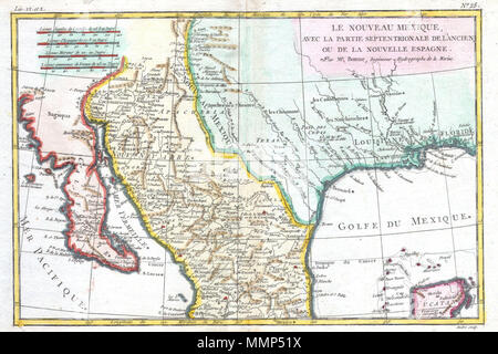 English: This is a beautiful c. 1780 Bonne map of northern Mexico ...