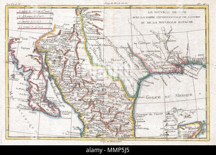 1780, Bonne Map of Texas, Louisiana and New Mexico, Rigobert Bonne ...