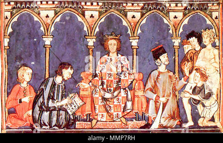 . Español: Alfonso X el Sabio, rey con el que aparece mencionado por primera vez el castillo. Alfonso X el Sabio con sus colaboradores del escritorio real. Alfonso X y su corte. English: Alfonso X of Castile, from his Libro de los Juegos (folio 65r) Nederlands: De Castiliaanse koning Alfons X en zijn hof.  . This file is lacking author information. Alfonso X el Sabio y su corte - Stock Photo