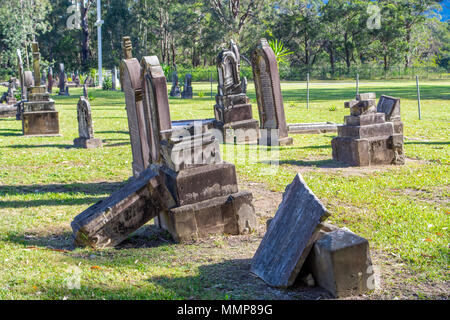 Graves in West Dapto Cemetery - Stock Photo