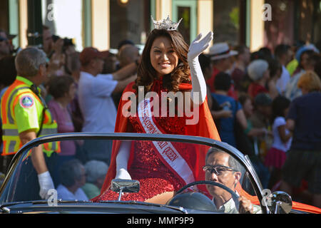 Chinese New Year Queen parades during the Lunar New Year celebration, Oahu, Hawaii, USA - Stock Photo