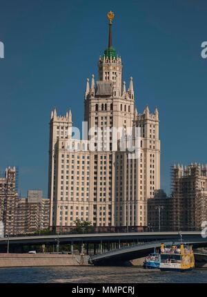 The Kotelnicheskaya Embankment Building on the banks of the Moskva river is on of the cities 'Seven Sisters' - Moscow, Russia - Stock Photo