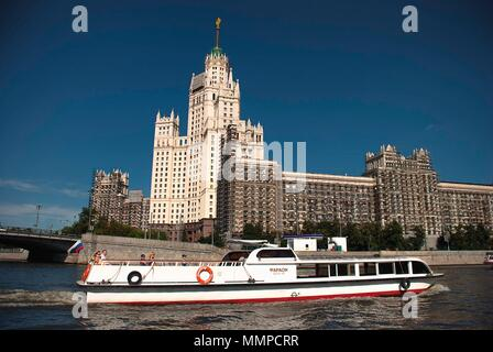 The Kotelnicheskaya Embankment Building on the banks of the Moskva river is one of the cities 'Seven Sisters' - Moscow, Russia Stock Photo