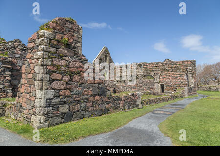 Derelict buildings of the Old Nunnery at Iona Abbey on the Isle of Iona, in the Inner Hebrides, Argyll and Bute, Scotland, UK - Stock Photo