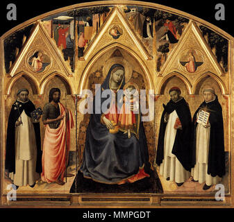 .  English: Virgin and Child, Sts Dominic and John the Baptist on the left and Sts Peter Martyr and Thomas Aquinas on the right, on the upper part scenes from the life of St Peter Martyr (Predication and Martyrdom), Angel of the Annunciation, God Father and Vergin Annunciate. Mary is holding an ampulla, with reference to Mary Magdalene's ampulla so to Jesus' passion.  St Peter Martyr Altarpiece. between 1427 and 1428. Angelico, pala di san pier maggiore, 1425 ca. - Stock Photo