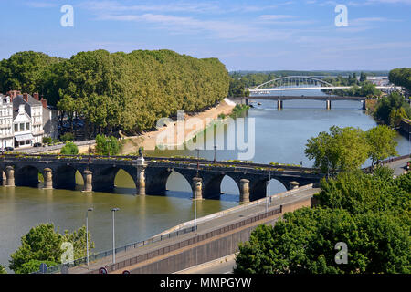 Aerial view of The Maine river and bridges of the town of Angers in the Maine-et-Loire department, Pays de la Loire region, in western France about 30 - Stock Photo