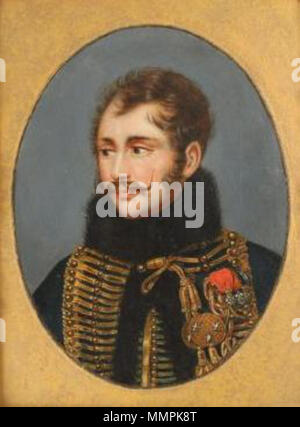 .  English: Photograph of an oil painting on tin of Antoine Charles Louis, comte de Lasalle, by an unknown artist, in the uniform of a French cavalry general, circa 1810. Antoine Lasalle - Stock Photo