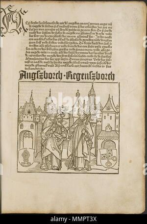 . Illustration from the incunabulum: Cronecken der Sassen (The Chronicles of Saxony) printed by Peter Schöffer in Mainz.  . 1492. Conrad Bote (Konrad Botho) Augsburg Bishops p00065 - Stock Photo