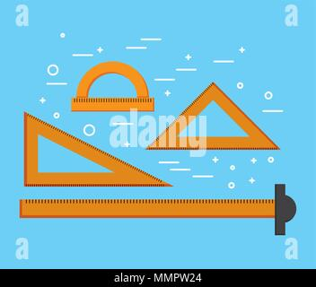 designer ruler t square triangles and protractor supplies vector illustration - Stock Photo