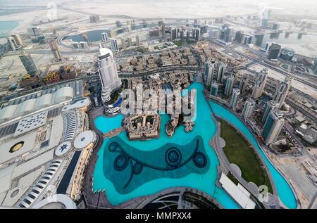 Panorama sunset view to Dubai skyscrapers - 10-01-2015 Dubai UAE - Stock Photo