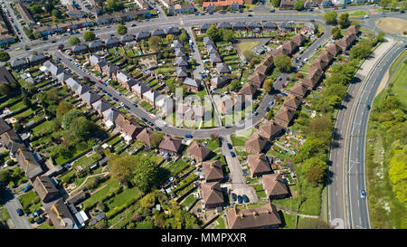 Aerial photography of houses in Folkestone city, Kent, England - Stock Photo