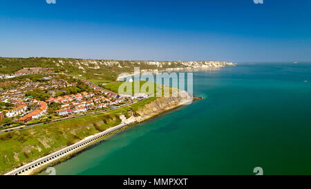 Aerial view of the english coast in Folkestone, Kent - Stock Photo