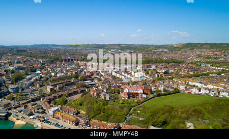 Aerial photography of Folkestone city, Kent, England - Stock Photo