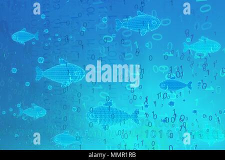 Virtual blue glowing fish swimming in code habitat 3d illustration, horizontal - Stock Photo