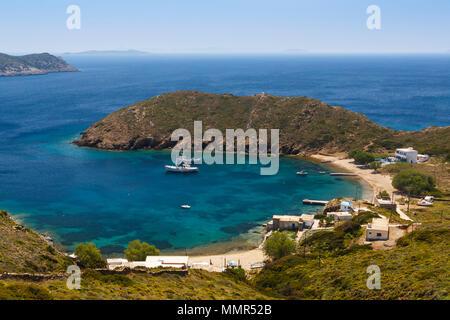 Keramidou beach on Thymaina island in Fourni Korseon, Greece. - Stock Photo