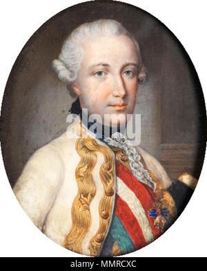 . Portrait of Leopold II, Holy Roman Emperor (1747-1792)  . 18th century. Batoni, after - Leopold II, miniature - Stock Photo
