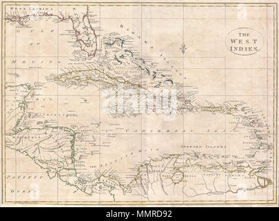 .  English: A fine 1799 map of the West Indies by the English mapmaker Clement Cruttwell. Shows what was then known as West and East Florida, along with the Bahamas Islands, Cuba, Jamaica, Domingo, and Puerto Rico (Porto Rico). Further southeast are the Virgin Islands, the Leeward and Windward Islands. The map also includes parts of Mexico, Honduras, Costa Rica, and the northern portion of South America. Cruttwell pays special attention to reefs, shoals, banks, and other underwater dangers, labeling many by name. He also makes note of the Spanish Main, the common term for A fine 1799 map of th - Stock Photo