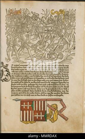. Illustration from the incunabulum: Cronecken der Sassen (The Chronicles of Saxony) printed by Peter Schöffer in Mainz.  . 1492. Conrad Bote (Konrad Botho) Battle Scene p00129 - Stock Photo