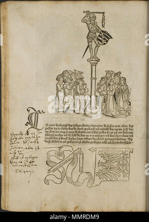 . Illustration from the incunabulum: Cronecken der Sassen (The Chronicles of Saxony) printed by Peter Schöffer in Mainz.  . 1492. Conrad Bote (Konrad Botho) Beating off the Crowd p00234 - Stock Photo