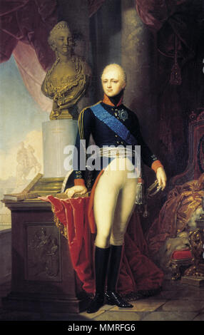 Portrait of Grand Duke Alexander Pavlovich of Russia. 1800. Grand Duke Alexander Pavlovich by V.Borovikovsky (1800, Russian museum) - Stock Photo