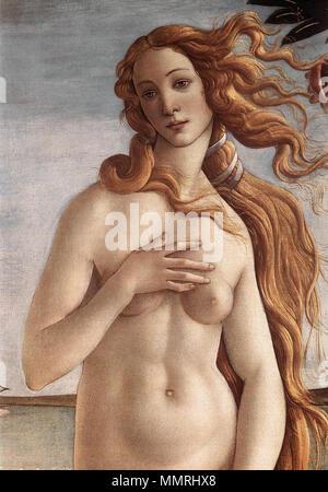 English: The Birth of Venus (detail) . circa 1485. Birth of Venus detail - Stock Photo