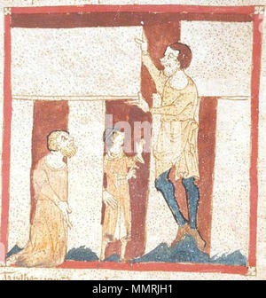 . Fol. 30r. detail, Depicted person: Merlin. This illustration shows the construction of Stonehenge by a giant with the assistance of Merlin. It is the oldest known illustration of Stonehenge.  Roman de Brut, a verse epitome (begins imperfectly) with continuation to Edward III; La Destruction de Rome; Fierabras. between 1325 and 1350. Wace BLEgerton3028Fol30rStonehengeCropped - Stock Photo