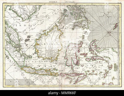 .  English: A beautiful example of Rigobert Bonne's 1771 decorative map the East Indies. Covers from the Gulf of Siam (Gulf of Thailand) and Malacca (Malaysia) eastward to include parts of Sumatra, Java, Borneo, the Celebes, parts of Cambodia, the southern Philippine Islands, and New Guinea. Offers considerable detail of the region. Notes the Straight of Singapore (Det. de Sin Capura) and shows but does not label the island of Singapore. In Borneo, this map provides good detail along the Banjermassin or Barito River, detailing numerous villages and trading stations. Names Bali and Lombok as we - Stock Photo