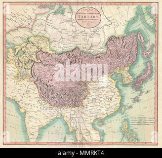.  English: An exceptionally beautiful example of John Cary's important 1806 map of Chinese and Independent Tartary. Covers Central Asia from the Caspian Sea to Japan, extends as far north as the Obskaia Sea and as far south as India, Burma and the Philippines. Includes the modern day nations of Uzbekistan, Kazakhstan, Turkmenistan, Kirgizstan, Tajikistan and Mongolia. One of Cary's most interesting maps. Central Asia, despite hundreds of years of passing trade on the Silk Routes, was still, at the turn of the century a largely unknown land. Cary attempts to show some of the Silk Route passage - Stock Photo
