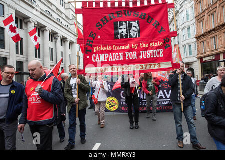London, UK. 12th May, 2018. Supporters of the Shrewsbury 24 take part with tens of thousands of people in the New Deal for Working People march and rally organised by the TUC to call for more and better jobs and a more equal and prosperous country. Credit: Mark Kerrison/Alamy Live News - Stock Photo